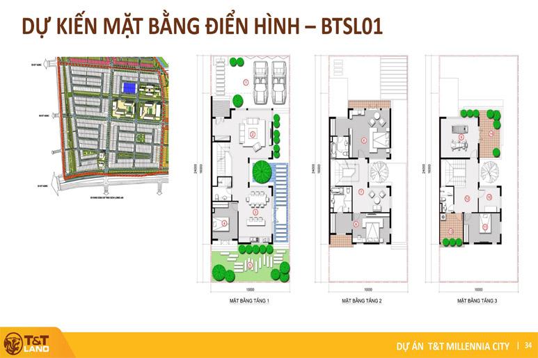 mat bang biet thu song lap tt city millennia Top 1 Dự Án Nam Sài Gòn: T&T City Millennia Long Hậu